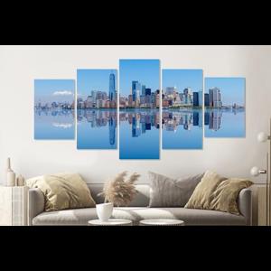 Karo-art Schilderij - New York City skyline weerspiegeling, 5 luik, 200x100cm