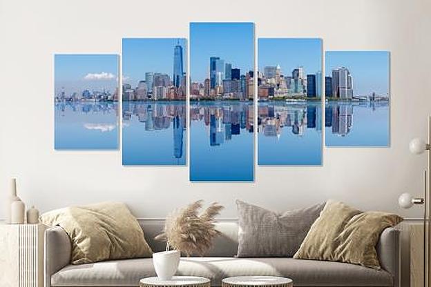 Schilderij - New York City skyline weerspiegeling, 5 luik, 200x100cm