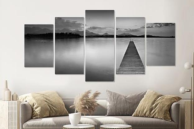 Schilderij -Steiger in zwart en wit, 5 luik, 200x100cm