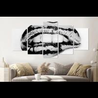Karo-art Schilderij -Metallic lippen, 5 luik, 200x100cm, Premium print