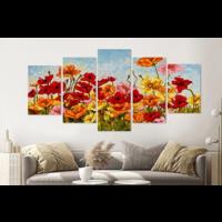 Karo-art Schilderij -Kleurrijke klaprozen, 5 luik, 200x100cm, Premium print