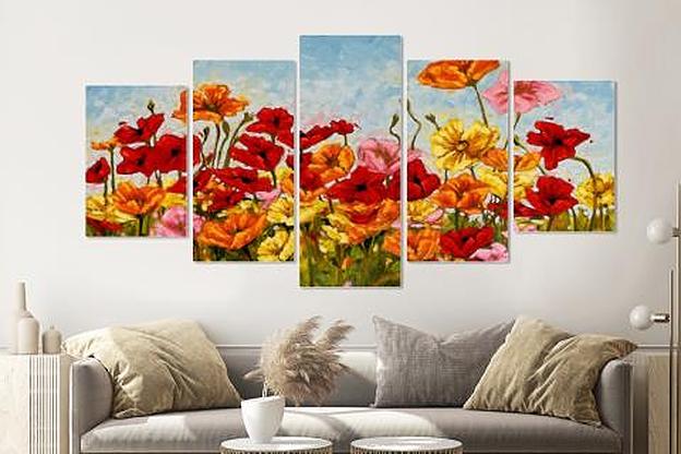 Schilderij -Kleurrijke klaprozen, 5 luik, 200x100cm, Premium print