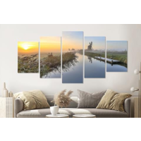 Karo-art Schilderij -Hollandse ochtend, 5 luik, 200x100cm, Premium print