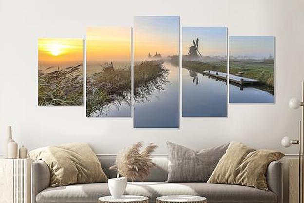 Schilderij -Hollandse ochtend, 5 luik, 200x100cm, Premium print