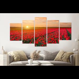 Karo-art Schilderij -Veld vol tulpen, 5 luik, 200x100cm, Premium print