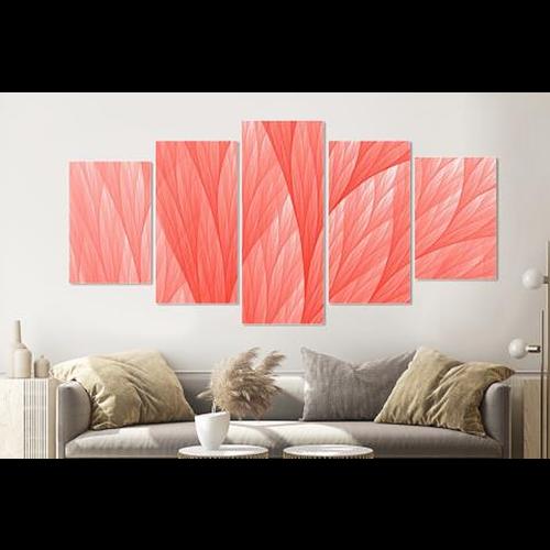 Karo-art Schilderij -Abstract Roze, 5 luik, 200x100cm, Premium print