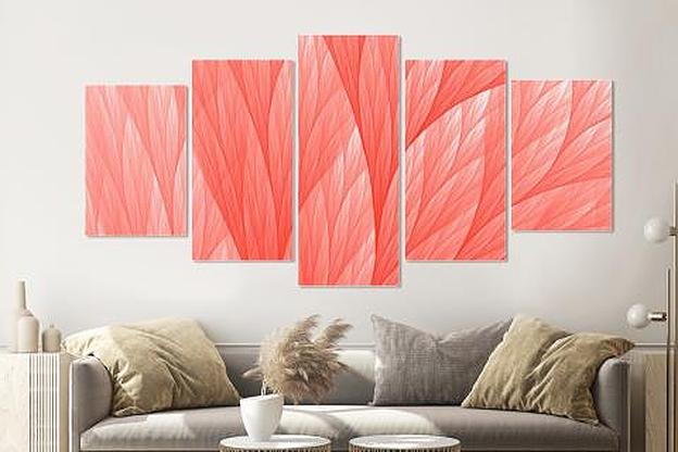 -17% SALE | Schilderij -Abstract Roze, 5 luik, 200x100cm, Premium print