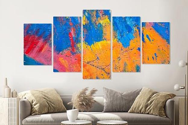 Schilderij -Abstract geverfde muur, 5 luik, 200x100cm, Premium print