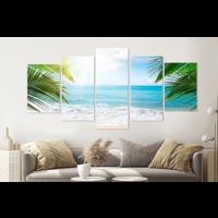 Karo-art Schilderij -Afgelegen strand, 5 luik, 200x100cm, Premium print