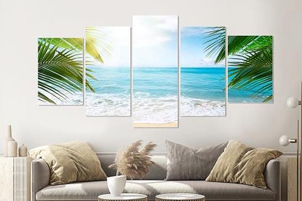 -14% SALE | Schilderij -Afgelegen strand, 5 luik, 200x100cm, Premium print