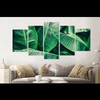 Karo-art Schilderij -Bananenblad, groen, 5 luik, 200x100cm, Premium print
