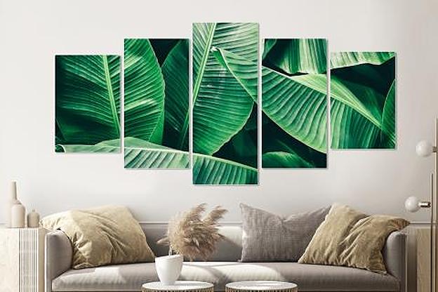 -17% SALE | Schilderij -Bananenblad, groen, 5 luik, 200x100cm, Premium print