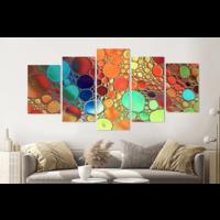 Karo-art Schilderij -Gekleurde oliedruppels op water, 5 luik, 200x100cm, Premium print