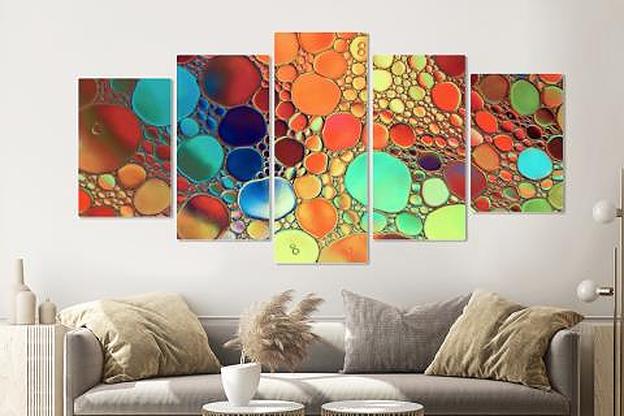 Schilderij -Gekleurde oliedruppels op water, 5 luik, 200x100cm, Premium print