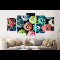 Karo-art Schilderij -Gekleurde spuitbussen, Graffiti, 5 luik, 200x100cm, Premium print