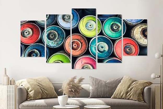 Schilderij -Gekleurde spuitbussen, Graffiti, 5 luik, 200x100cm, Premium print