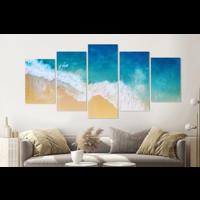 Karo-art Schilderij -Golven strand, van boven,  5 luik, 200x100cm, Premium print