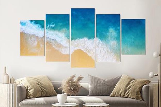 -16% SALE | Schilderij -Golven strand, van boven,  5 luik, 200x100cm, Premium print