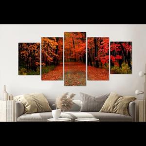 Karo-art Schilderij -Herfst bos, rood,  5 luik, 200x100cm, Premium print