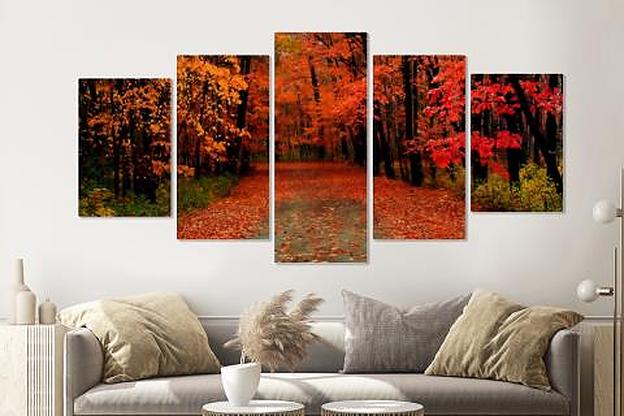 -16% SALE | Schilderij -Herfst bos, rood,  5 luik, 200x100cm, Premium print