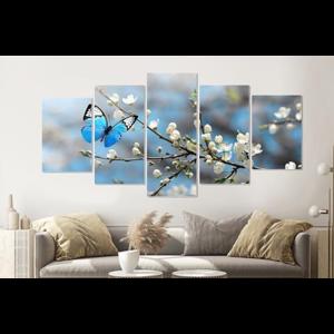 Karo-art Schilderij -Kersenbloesem met blauwe vlinder,   5 luik, 200x100cm, Premium print