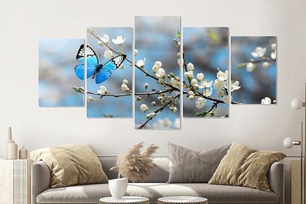-14% SALE | Schilderij -Kersenbloesem met blauwe vlinder,   5 luik, 200x100cm, Premium print