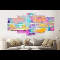 Karo-art Schilderij -Kleurrijk abstract,   5 luik, 200x100cm, Premium print