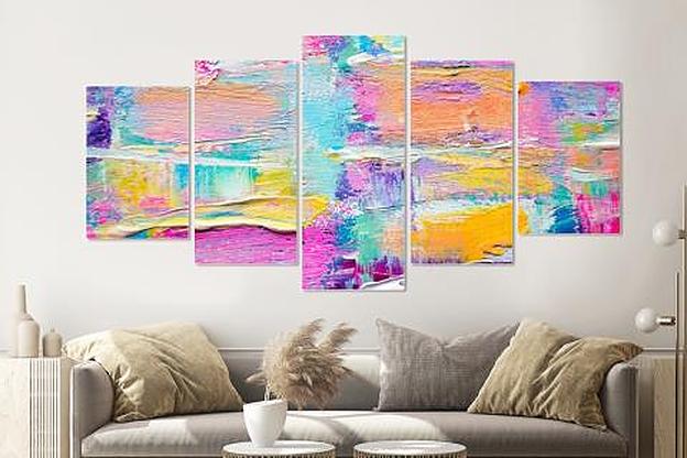 -17% SALE | Schilderij -Kleurrijk abstract,   5 luik, 200x100cm, Premium print