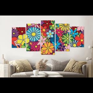 Karo-art Schilderij -Kleurrijke bloemen,   5 luik, 200x100cm, Premium print