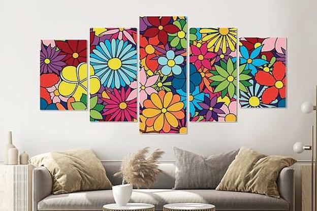 -17% SALE | Schilderij -Kleurrijke bloemen,   5 luik, 200x100cm, Premium print