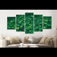 Karo-art Schilderij -Klimop, groen,   5 luik, 200x100cm, Premium print
