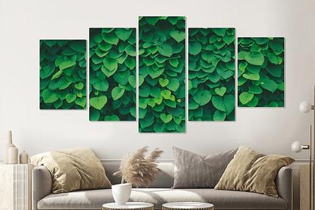 -17% SALE | Schilderij -Klimop, groen,   5 luik, 200x100cm, Premium print