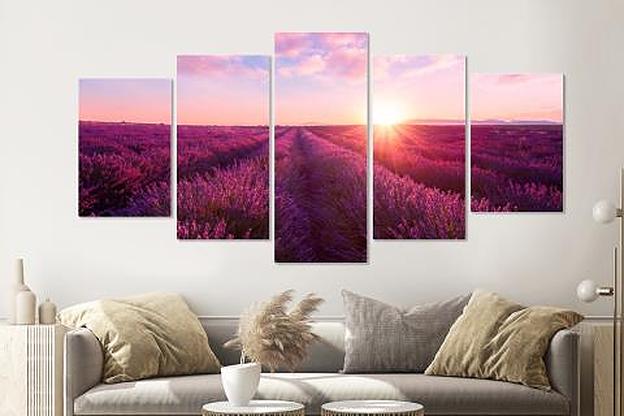 -15% SALE | Schilderij -Lavendelveld,   5 luik, 200x100cm, Premium print