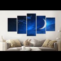 Karo-art Schilderij -Maan en sterren,   5 luik, 200x100cm, Premium print