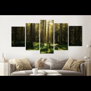 Karo-art Schilderij -Magisch bos, groen,   5 luik, 200x100cm, Premium print