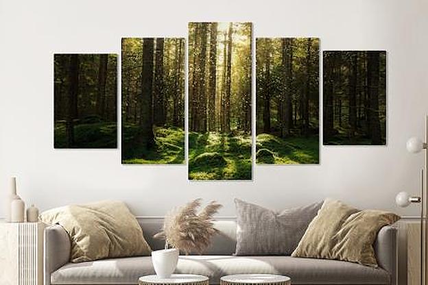 Schilderij -Magisch bos, groen, 5 luik, 200x100cm, Premium print