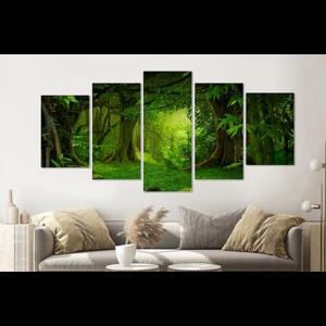 Karo-art Schilderij -Magisch bos II, groen,   5 luik, 200x100cm, Premium print