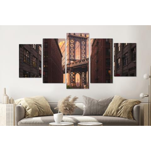 Karo-art Schilderij -Manhattan Bridge, NYC ,   5 luik, 200x100cm, Premium print