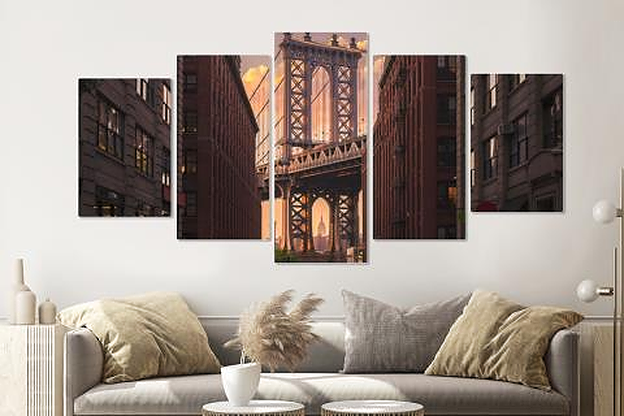 Schilderij -Manhattan Bridge, NYC , 5 luik, 200x100cm, Premium print