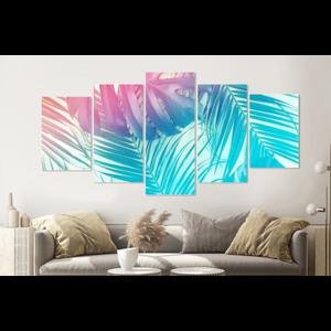 Karo-art Schilderij -Neon Jungle,    5 luik, 200x100cm, Premium print