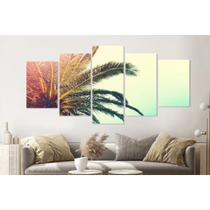 Karo-art Schilderij -Palmboom,    5 luik, 200x100cm, Premium print