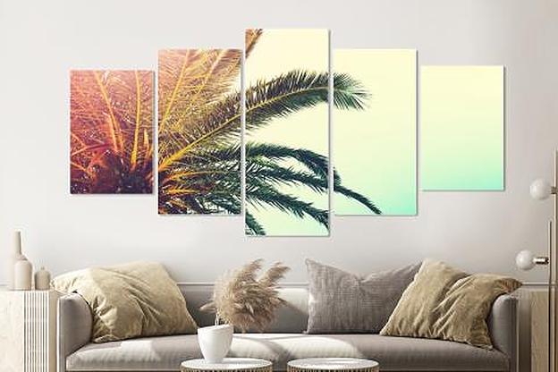 Schilderij -Palmboom, 5 luik, 200x100cm, Premium print