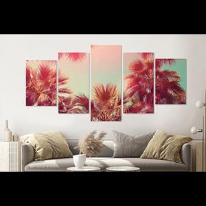 Karo-art Schilderij -Palmbomen in de zon,    5 luik, 200x100cm, Premium print