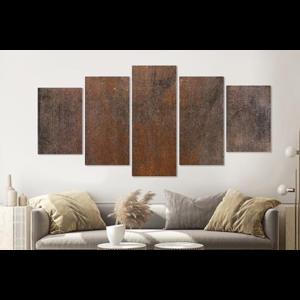 Karo-art Schilderij -Roestige achtergrond,    5 luik, 200x100cm, Wanddecoratie