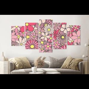 Karo-art Schilderij -Roze bloemen,    5 luik, 200x100cm, Wanddecoratie