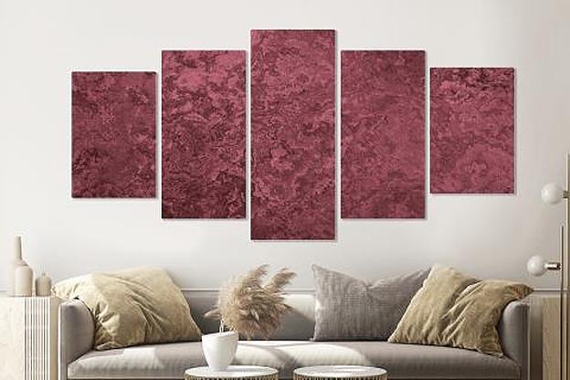 Schilderij -Roze textuur, 5 luik, 200x100cm, Wanddecoratie