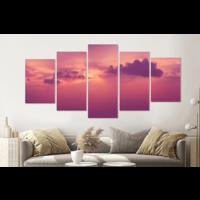 Karo-art Schilderij -Roze wolken,    5 luik, 200x100cm, Premium print