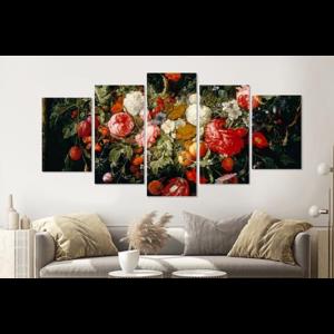 Karo-art Schilderij -Slinger van Bloemen en fruit,    5 luik, 2 maten, Premium print