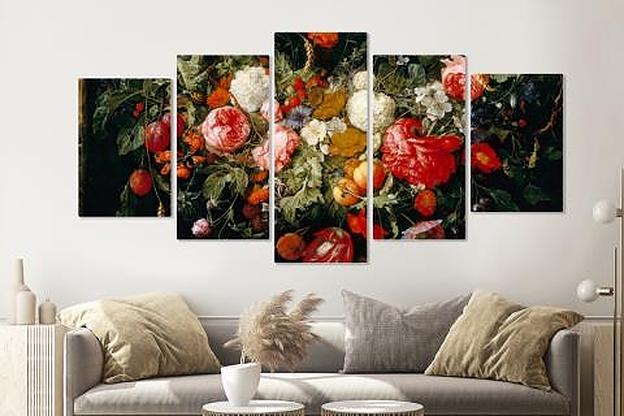 Schilderij -Slinger van Bloemen en fruit, 5 luik, 2 maten, Premium print