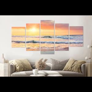Karo-art Schilderij -Zonsondergang op het strand,   5 luik, 200x100cm, Premium print